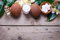 Coconuts,  coconut oil and milk Stock Photography
