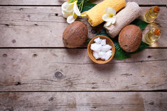 Coconuts,  coconut oil and towels Royalty Free Stock Image