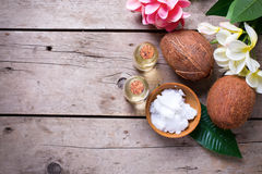 Coconuts and coconut oil Royalty Free Stock Image