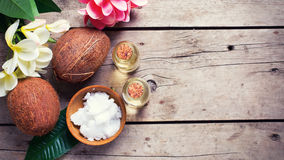 Coconuts and coconut oil Royalty Free Stock Photo
