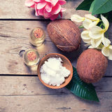 Coconuts and coconut oil Stock Image