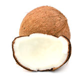 Coconuts. Coconut with slices isolated on white Background Royalty Free Stock Photography