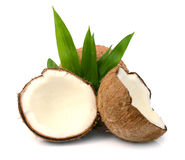 Coconuts. Coconut with slices isolated on white Background Royalty Free Stock Images