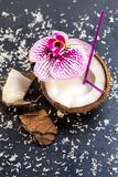Coconuts with coconuts flakes and orchid on the grey stone backg. Round Stock Photos