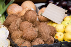 Coconuts. On display at a market Stock Photo