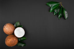 Coconuts with fresh green leaves on a dark background. Delicious coconuts cut in a half and whole. Ripe and appetizing coconuts. A composition of whole and Royalty Free Stock Photos