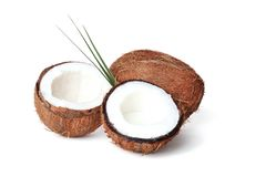 Coconuts with fresh milk. On white background Royalty Free Stock Images