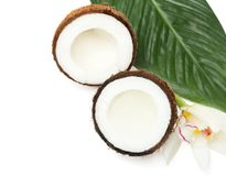 Coconuts with fresh water. On white background Royalty Free Stock Images