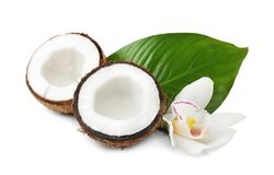 Coconuts with fresh water. On white background Stock Photography