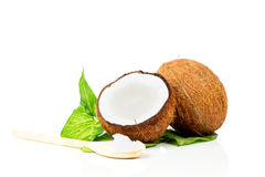 Coconuts with green leaf. On white background Stock Photo
