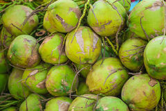 Coconuts heap, food market Thailand Royalty Free Stock Image