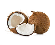 Coconuts isolated on white. Background Royalty Free Stock Photo