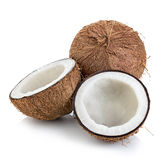 Coconuts isolated on white. Background Stock Photos