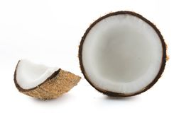 Coconuts isolated on the white. Background Stock Photos