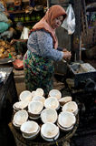 Coconuts. Merchants selling coconuts in a traditional market in the city of Solo, Central Java, Indonesia Stock Images