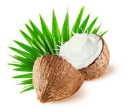Coconuts with milk splash and leaf isolated on white background.  Royalty Free Stock Image