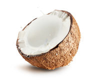 Coconuts with milk splash on white background Royalty Free Stock Photography