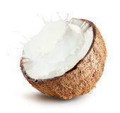 Coconuts with milk splash on white background Stock Photo