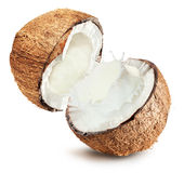 Coconuts with milk splash on white background Stock Images
