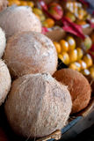 Coconuts And Other Fruit On Display At Farmers Market. Several Coconuts And Other Fruit On Display At Farmers Market Royalty Free Stock Images