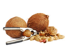 Coconuts,peanuts and walnuts Stock Photography