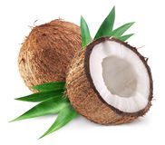 Coconuts and it's half with leaves. Stock Photos
