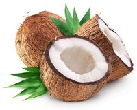 Coconuts and it's half with leaves. Royalty Free Stock Photography