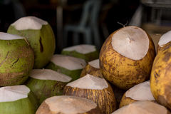 Coconuts for sale. royalty free stock photo