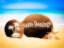 Coconuts in the sand. Coconuts with an engraving in the sand Stock Image