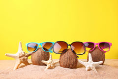 Coconuts with sunglasses Royalty Free Stock Image