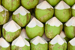 Coconuts to sell background Stock Photos