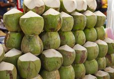 Coconuts. Traveling sales of coconuts in Vietnam Stock Photos