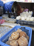 Coconuts. Vendors selling coconuts on a market in the city of Solo, Central Java, Indonesia Royalty Free Stock Image