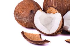 Coconuts on white Stock Images
