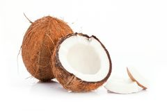 Coconuts on the white background. closeup royalty free stock photography