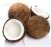 Coconuts on white background Royalty Free Stock Photos