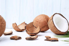 Coconuts. On white wooden table Stock Photography