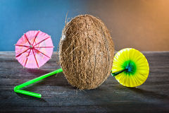 Coconuts on wood Stock Photos