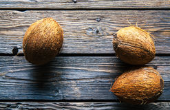 Coconuts on a wooden background, food, nature Stock Image