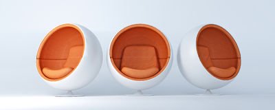 Cocoon chairs 2. Trio of cocoon shaped chairs displayed in different angles stock illustration