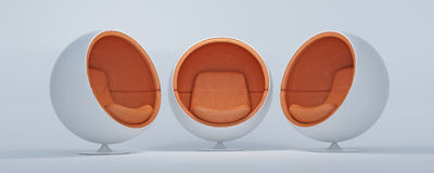 Cocoon chairs 3. Trio of cocoon shaped chairs arranged for a conversation royalty free illustration