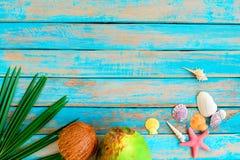 Cocos, cáscaras y estrellas de mar en el fondo de madera fotos de archivo
