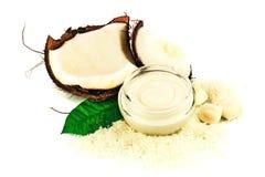 Cocos del coco con la hoja poner crema y verde Imágenes de archivo libres de regalías
