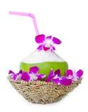 Cocos verdes con la paja de beber en cesta de armadura Foto de archivo libre de regalías