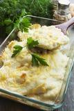 Cocotte en terre avec des poissons et des pommes de terre photo libre de droits