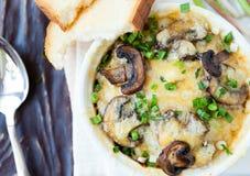 Cocotte en terre de champignon dans une cuvette blanche Image stock