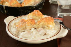 Cocotte en terre de pâté en croûte de poulet Image stock