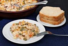 Cocotte en terre de poulet, de légume et de nouille Image stock