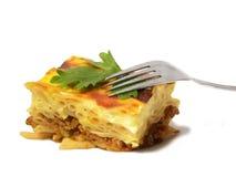 Cocotte en terre des macaronis. Pastitsio grec. image libre de droits