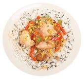 Cocotte en terre et riz de poulet Photo libre de droits